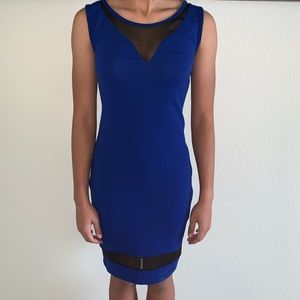 Dresses & Skirts - Blue Sleeveless Bodycon with Black sheer size M